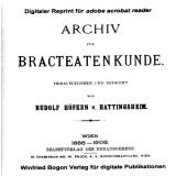 Archiv für Bracteatenkunde. R. v. Höfken - CD - 4 Bände