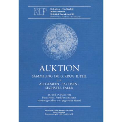 Sammlung DR. G. Krug II. Teil. U.a. Allgemein Sachsen Sechstel Taler