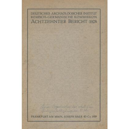 Bericht der Römisch Germanischen Kommission, Band 18 - 1928