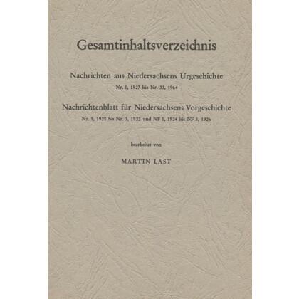 Nachrichten aus Niedersachsens Urgeschichte - Gesamtinhaltsverzeichnis
