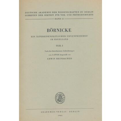 Börnicke - Ein Ältereisenzeitlicher  Urnenfriedhof im Havelland, Teil 1